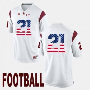 US Flag Fashion Trojans Adoree' Jackson College Jersey For Men's White #21