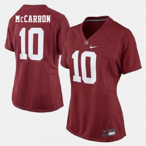Red A.J. McCarron College Jersey For Women's Football #10 Roll Tide