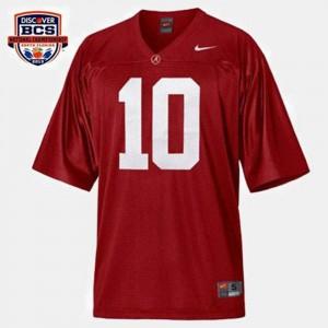 Men's #10 Alabama Roll Tide Football Red A.J. McCarron College Jersey