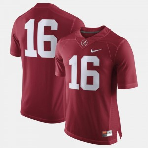 Crimson #16 College Jersey For Men Bama Football