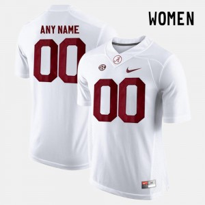 Alabama #00 White Women Limited Football College Custom Jerseys