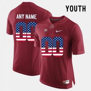 Alabama Roll Tide College Customized Jerseys For Kids US Flag Fashion #00 Crimson