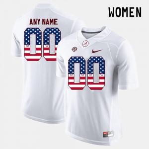 College Custom Jerseys White #00 US Flag Fashion Alabama Crimson Tide Women's