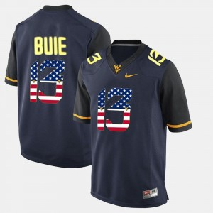 US Flag Fashion Andrew Buie College Jersey #13 Navy Blue WVU For Men