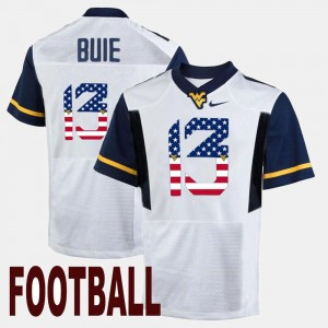 For Men's West Virginia White US Flag Fashion Andrew Buie College Jersey #13