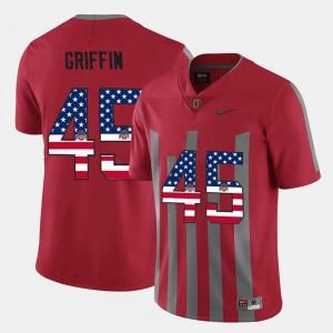 Archie Griffin College Jersey For Men OSU #45 Scarlet US Flag Fashion