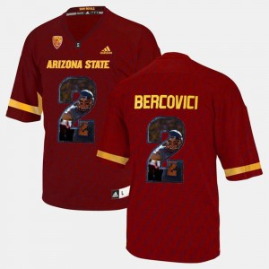 Player Pictorial For Men Red Arizona State Sun Devils #2 Mike Bercovici College Jersey