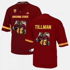 Maroon Player Pictorial Pat Tillman College Jersey Sun Devils For Men's #42
