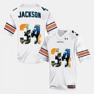 AU #34 Throwback White Bo Jackson College Jersey Mens
