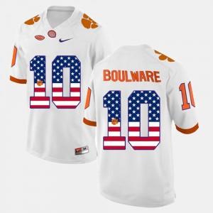 #10 White For Men's US Flag Fashion Clemson University Ben Boulware College Jersey