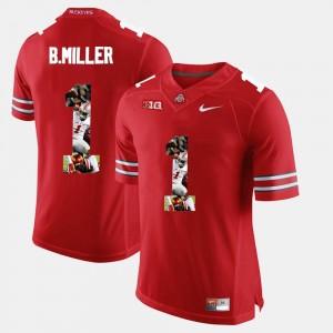 Pictorial Fashion Braxton Miller College Jersey #1 Scarlet Men OSU