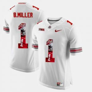 Braxton Miller College Jersey Ohio State White #1 Pictorial Fashion Men's
