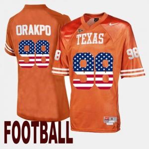 Brian Orakpo College Jersey US Flag Fashion Orange Mens Texas Longhorns #98