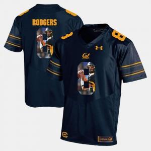 #8 Navy Blue Golden Bears Aaron Rodgers College Jersey Player Pictorial Mens