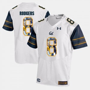 Aaron Rodgers College Jersey White Player Pictorial For Men's #8 Cal Berkeley