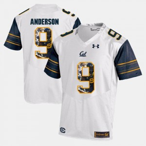 For Men's White #9 C.J. Anderson College Jersey Player Pictorial California Golden Bears