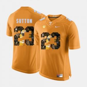 Orange Cameron Sutton College Jersey #23 Pictorial Fashion Tennessee Vols Men's