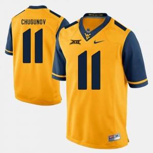 Alumni Football Game Gold #11 West Virginia Mountaineers Chris Chugunov College Jersey Mens