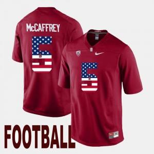 For Men's Cardinal Christian McCaffrey College Jersey Cardinal #5 US Flag Fashion