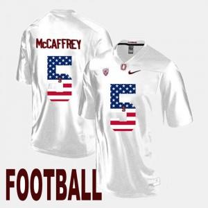 #5 Mens Christian McCaffrey College Jersey Stanford Cardinal White US Flag Fashion