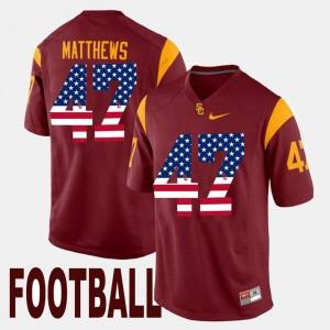 For Men's US Flag Fashion Clay Matthews College Jersey #47 Maroon USC Trojans