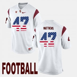 #47 Trojans US Flag Fashion Clay Matthews College Jersey For Men White
