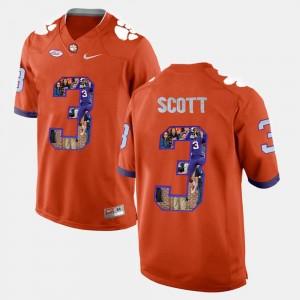 Clemson #3 Artavis Scott College Jersey For Men's Player Pictorial Orange