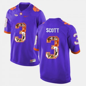 Clemson National Championship #3 Player Pictorial Purple For Men Artavis Scott College Jersey