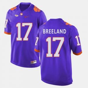 Football For Men's #17 Clemson University Purple Bashaud Breeland College Jersey
