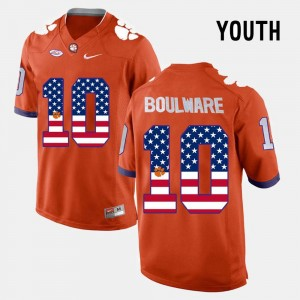 Orange Ben Boulware College Jersey Clemson National Championship #10 Kids US Flag Fashion