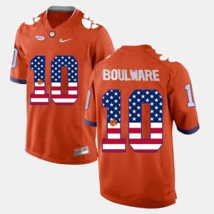#10 Orange Ben Boulware College Jersey Clemson Tigers For Men US Flag Fashion