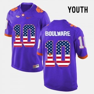 #10 Youth(Kids) Clemson National Championship Ben Boulware College Jersey US Flag Fashion Purple