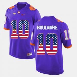 US Flag Fashion Ben Boulware College Jersey Clemson Purple Men #10