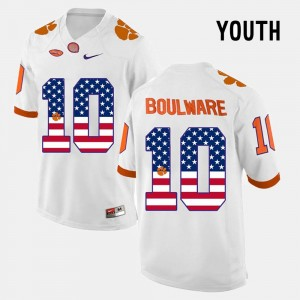 For Kids #10 Ben Boulware College Jersey CFP Champs US Flag Fashion White