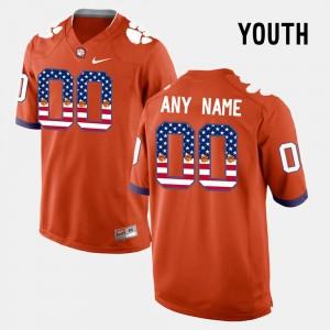 Orange Clemson Tigers College Custom Jerseys US Flag Fashion Youth(Kids) #00