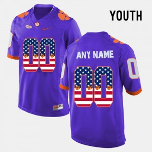US Flag Fashion #00 Clemson National Championship College Customized Jersey Youth(Kids) Purple