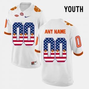 Clemson University White Youth US Flag Fashion College Custom Jersey #00
