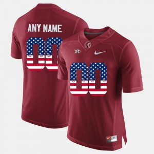 Men's Alabama #00 US Flag Fashion College Customized Jerseys Crimson