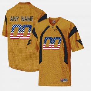 WV US Flag Fashion Men College Customized Jersey Gold #00