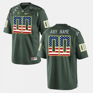 Men's #00 University of Oregon College Customized Jerseys US Flag Fashion Green