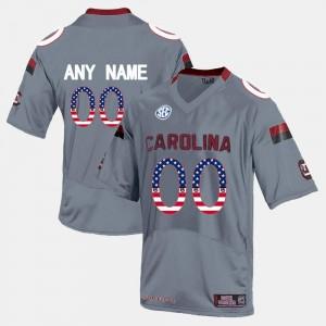 #00 College Customized Jersey Grey For Men US Flag Fashion South Carolina Gamecocks