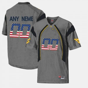 College Customized Jerseys Grey WV For Men's US Flag Fashion #00