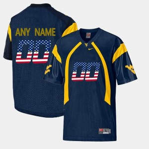 US Flag Fashion West Virginia Mountaineers Navy Blue #00 Men College Customized Jerseys