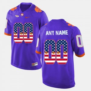 #00 Purple College Customized Jersey For Men's US Flag Fashion Clemson Tigers