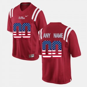 US Flag Fashion Rebels #00 College Customized Jersey For Men's Red
