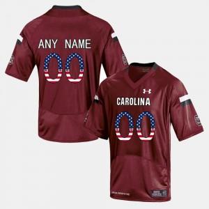 Red #00 US Flag Fashion South Carolina Gamecocks Mens College Customized Jerseys