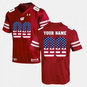 College Custom Jerseys Red Mens Wisconsin Badger #00 US Flag Fashion