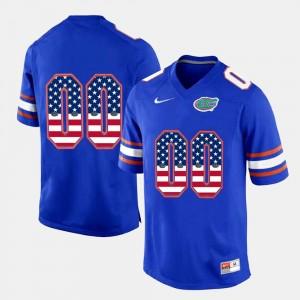 #00 US Flag Fashion Florida Gator Royal Blue College Custom Jerseys For Men