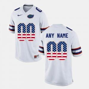 White For Men US Flag Fashion College Custom Jerseys #00 UF