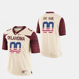 US Flag Fashion Men's College Custom Jerseys #00 University Of Oklahoma White